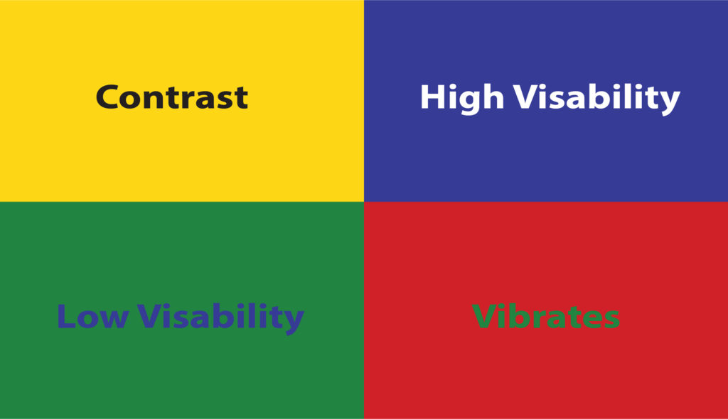 Four quadrant graphic displaying good contrast, high visibility, low visibility, and contrast that vibrates.