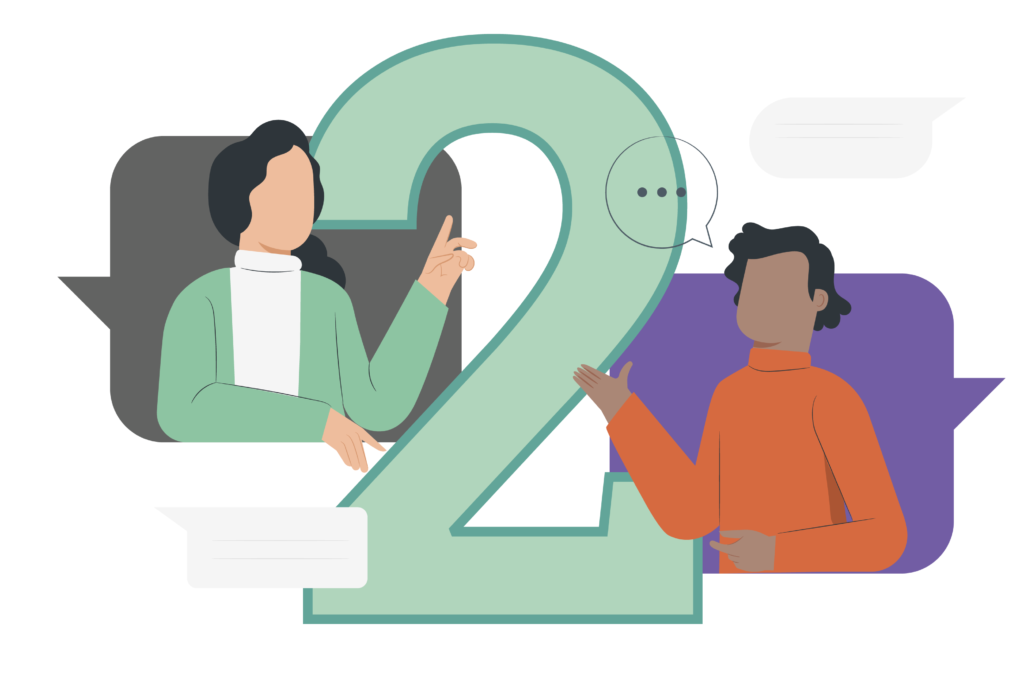 """An illustration of two people talking with the number """"2"""" behind it."""