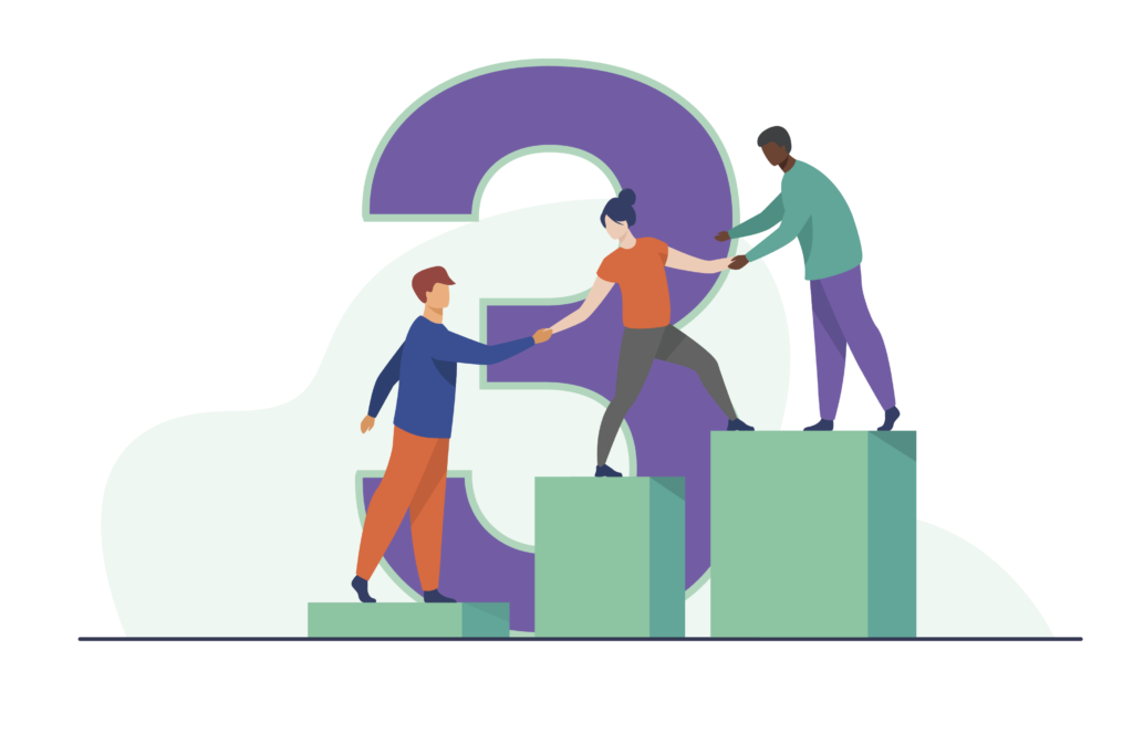 An illustration of three people helping each other up.